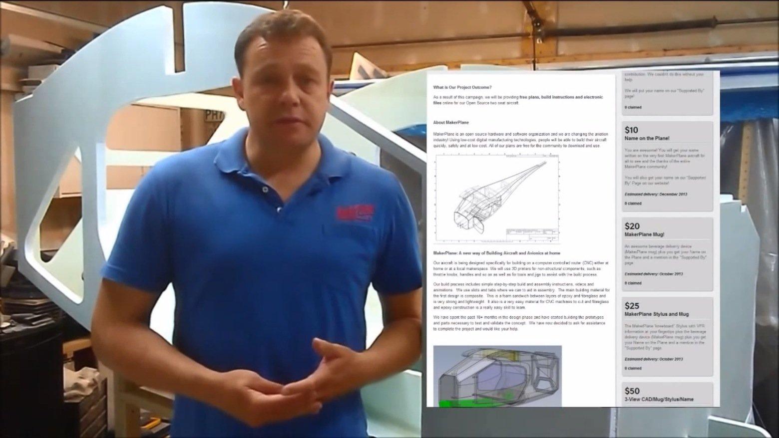 Unternehmensgründer John Nicol erläutert die Pläne für das neue Flugzeug zum Selbstbau. Wichtigstes Material für das Flugzeug ist ein Verbundwerkstoff. Die Teile werden mit CNC-Maschinen computergesteuert ausgeschnitten.