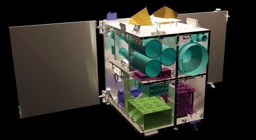"""Der """"Flying Laptop"""" ist 60 x 70 x 80 Zentimeter groß und wiegt 120 Kilogramm. Drei Solarpaneelen und eine Batterie versorgen den Kleinsatelliten mit Energie. Herzstück an Bord ist ein Hochleistungscomputer."""