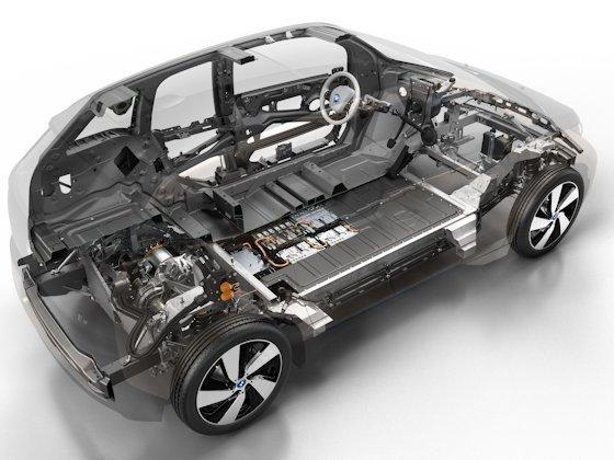 Reines Elektrofahrzeug oder kombiniert mit einem kleinen Zwei-Zylinder-Benziner – beide Aggregate sitzen auf der Hinterachse.