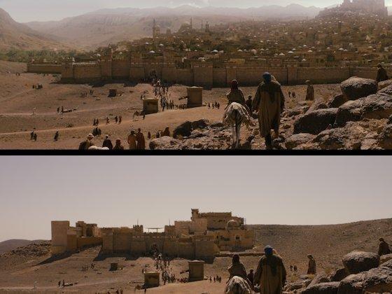 """<p>Stadt aus dem Staub: Für den Film """"Der Medicus"""" hat Pixomondo die persische Stadt Isfahan (oben) in ihrer mittelalterlichen Version virtuell aufgebaut (unten). Insgesamt brauchte das 70 000 Renderstunden für animierte Szenen."""