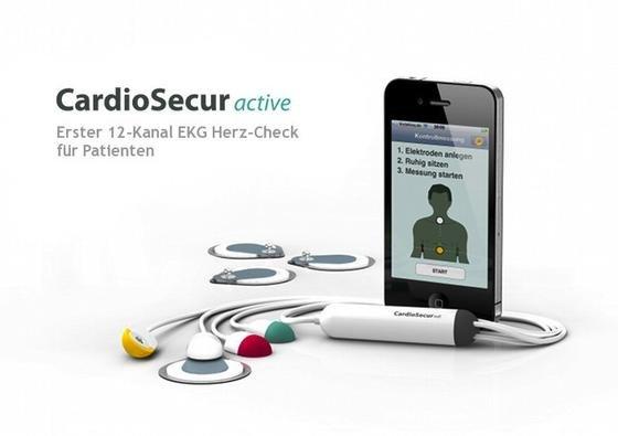 Ein Smartphone, ausgestattet mit speziellen EKG-Kabeln und einer App, kann im Fall von Unwohlsein überprüfen, ob ein Infarkt vorliegt. Das gibt auch den Patienten die Chance, früher einen Notarzt zu rufen.