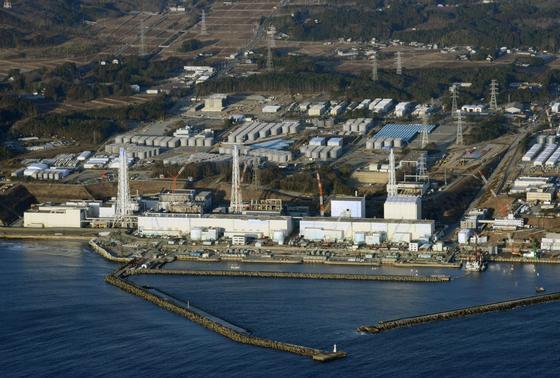 Luftaufnahme des havarierten japanischen Kernkraftwerks Fukushima Daiichi.