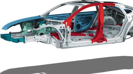 Beim Audi Space Frame handelt es sich um eine hochfeste Aluminium-Rahmenstruktur, bei der jedes Flächenteil mittragend integriert wird.