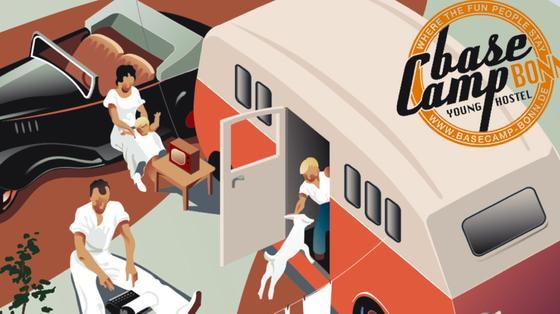Übernachtungen mit Retro-Charakter bietet das Basecamp in Bonn in den verschiedensten Wohnmobilen und Wohnwagen an.