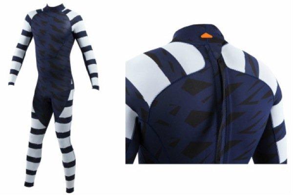 """Der """"Warnanzug"""" für Surfer hat kontrastreiche Streifen, die den Anzugträger für den Hai nicht mehr als normale Beute erscheinen lassen."""