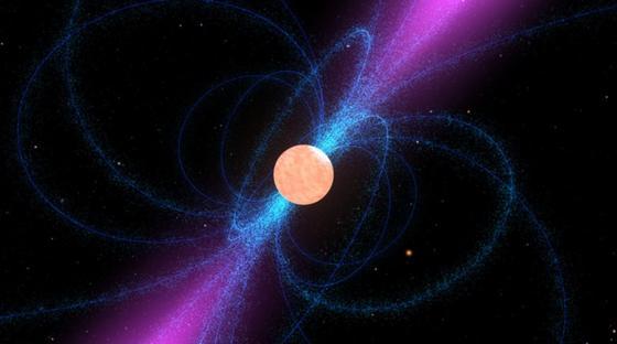 Nach unbekannten Neutronensternen durchsucht das Projekt Einstein@Home, in dem unzählige Privatrechner zu einem Supercomputer vernetzt werden, die Daten von Radioteleskopen. Diese künstlerische Darstellung zeigt einen Neutronenstern, das ihn umgebende starke Magnetfeld (blau) und den schmalen Strahl an Radiowellen (magenta) über seinen magnetischen Polen. Wenn der Strahl des sich drehenden Sterns über die Erde streicht, lässt sich der Neutronenstern als Pulsar entdecken.