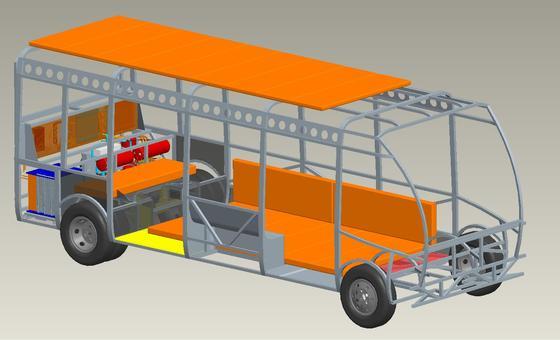 Beim KIT-Konzept für einen wirtschaftlichen E-Bus lassen sich die modularen Batterien (orange) einfach in die Freiräume der Fahrzeugstruktur intergrieren.