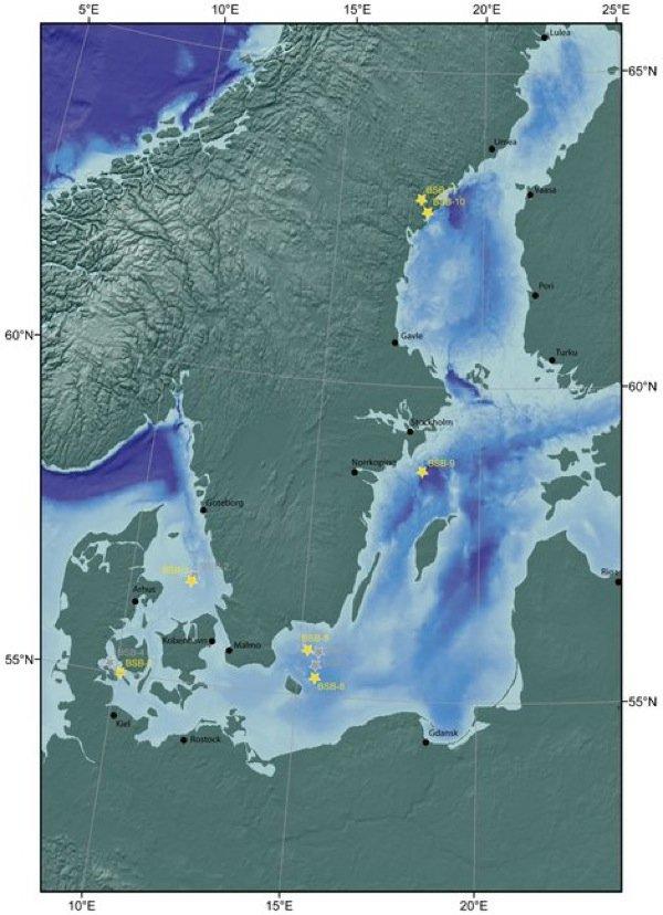 Die für die Ostsee-Expedition vorgesehenen Bohrplätze (gelb).