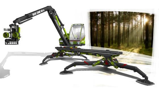 """Der neue """"Portalharvester"""" der TU Dresden ruht auf sechs Beinen und bewegt sich damit sanft.Mit ihm lassen sich Bäume fällen und entasten. Zudem schneidet er das Holz."""