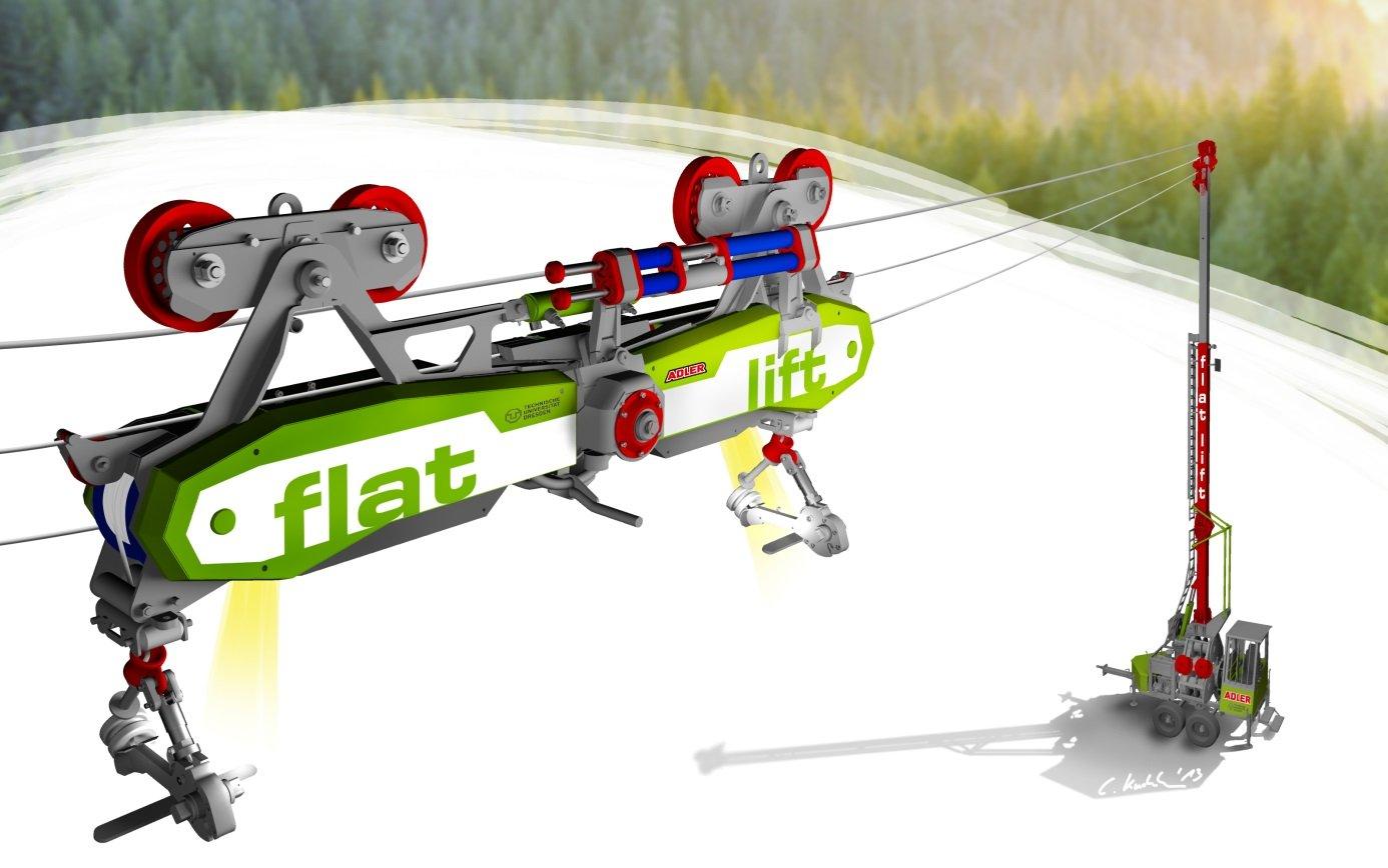 Mit dem Flachlandseilkran wird das Holz ohne den Boden zu berühren aus dem Wald transportiert.