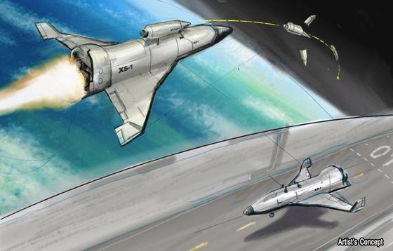 Erste Designentwürfe für XS-1: Das Fluggerät soll einen Satelliten bis unterhalb der Erdumlaufbahn transportieren. Dort wird eine zweite Stufe gezündet, die den Satelliten in ein niedriges Erdorbit schießt. XS-1 soll mehrfach verwendet werden können.