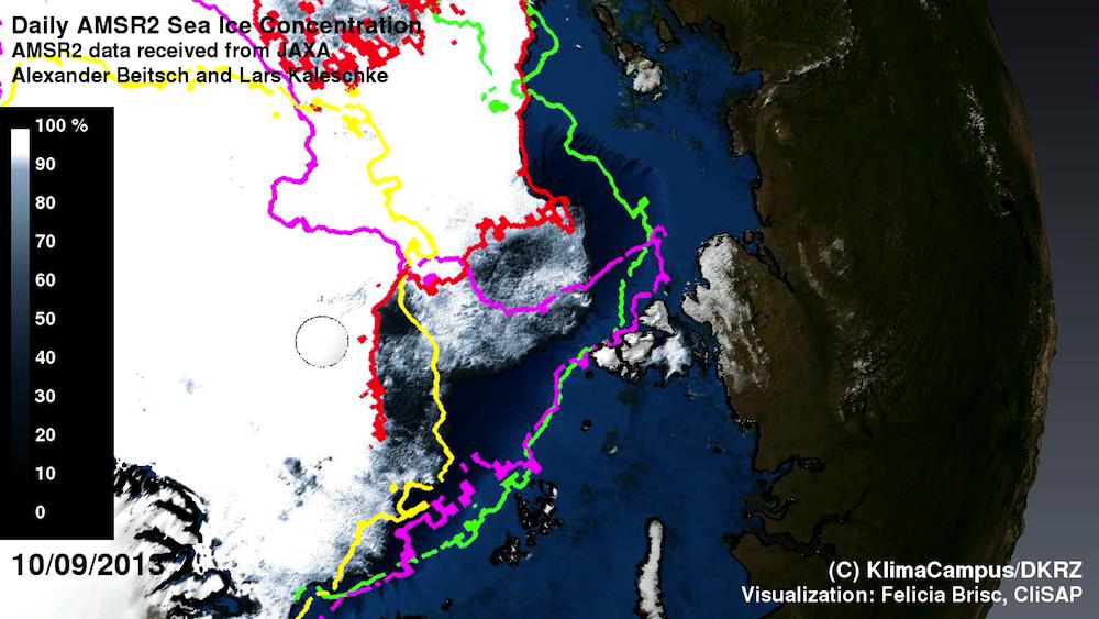 Rückgang der arktischen Eisabdeckung vom Juli bis September 2013 mit Packeisgrenzen im Vergleich zum Vorjahr. Satellitenmessungen belegen eine langfristige Abnahme der arktischen Meereisfläche. In der Animation sind die Grenzen für die Jahre 2002 (grün), 2007 (cyan), 2012 (gelb) und 2013 (rot) jeweils für den 10. September dargestellt.
