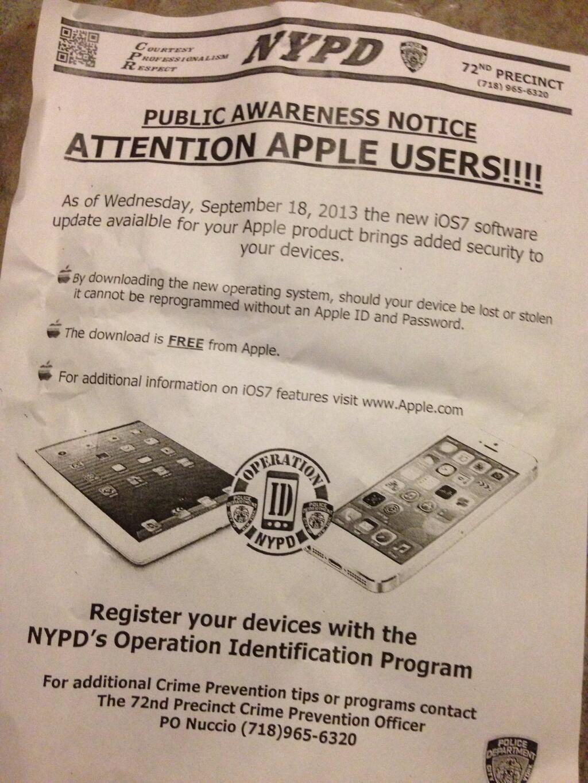 Flugblatt der New Yorker Polizei.