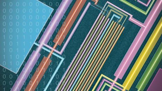 Auf der Aufnahme eines Elektronenmikroskopes sind Leiterbahnen eines neuen Computertyps zu sehen. Ein Team von der kalifornischen Stanford University hat erstmals einen Rechner aus Kohlenstoff-Nanoröhren gebaut.