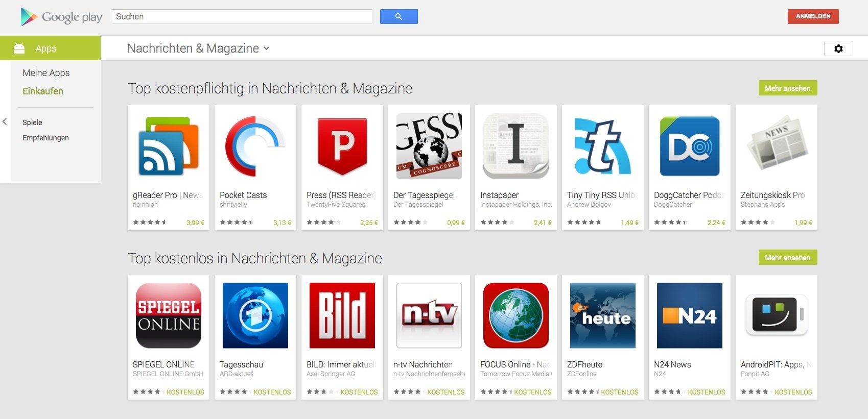 Apple auf den Fersen: Der Play Store von Google.