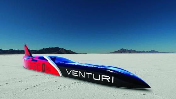 Der Venturi VBB-3 ist das schnellste Elektroauto der Welt: der Venturi VBB-3. Sein 3000 PS starker Motor soll das Geschoss in einigen Tagen in der Wüste von Utah auf 600 km/h beschleunigen. Trotz Ultraleichtbauweise mit Carbon und Aluminium wiegt das in Frankreich von Venturi entwickelte Auto über drei Tonnen. Allein 1600 Kilogramm schwer sind die Akku-Packs.