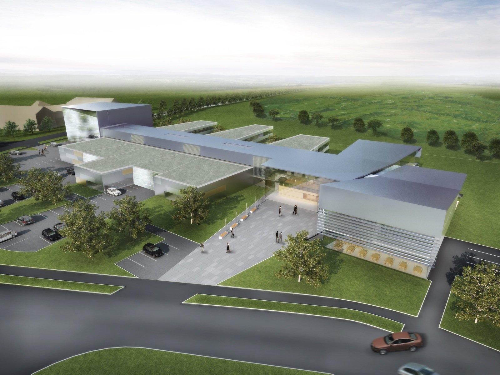 Modellansicht des Neubaus für den Bereich Entwicklungszentrum Röntgentechnik in Fürth-Atzenhof. Das Gebäude ist für rund 220 Personen mit 140 Büros, Laborräumen und Werkstätten auf über 5300 Quadratmetern konzipiert.