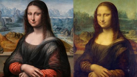 Zweimal Mona Lisa: Links das Bild aus dem Prado in Madrid, rechts aus dem Louvre in Paris. Beide sind exakt identisch, bis auf Abweichungen in der Malperspektive.