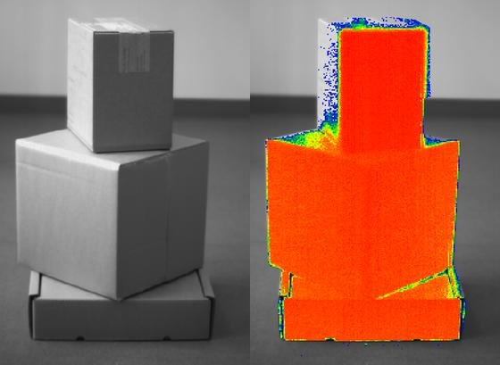 Bild der neuartigen Kameratechnik aus Schottland: Die Kamera liefert auch absolut zuverlässige Entfernungsdaten, weshalb sich die Technik auch für Produktionsprozesse einsetzen lässt.