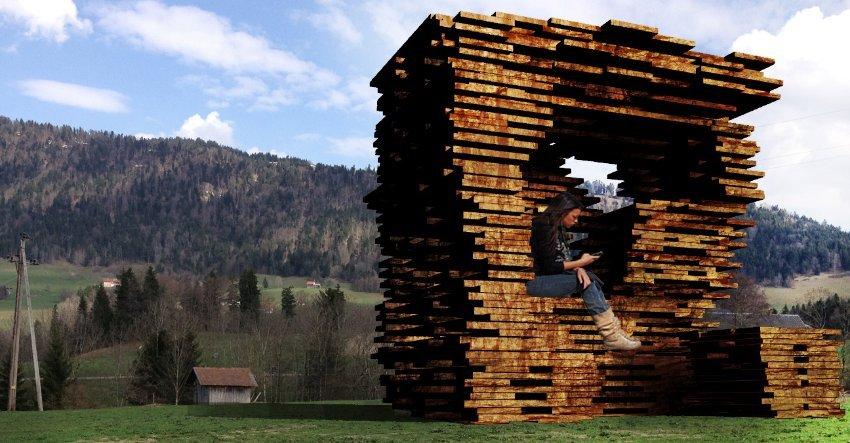 Aus einfachen Holzbrettern hat das Madrider Ensamble Studio einen geschützten Raum für die Wartenden gestaltet.
