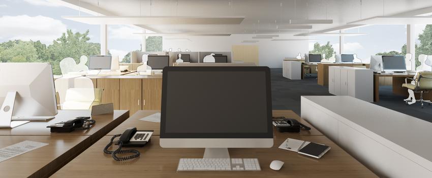 Virtuelles Büro: Die Software ermöglicht, das Büro mit Lärmquellen zu versehen, und bietet einen echten Höreindruck jedes Arbeitsplatzes. Zudem können mittels Software Decken abgehängt oder Lärmschutzwände eingefügt und deren Wirkung akustisch überprüft werden.