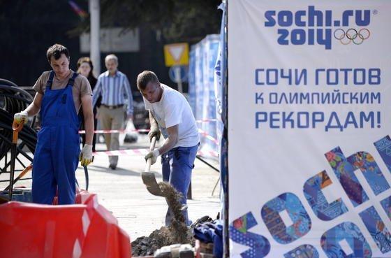 Baustelle in Sotschi, Austragungsort der Olympischen Winterspiele 2014: Die neuen Abhörgesetze Russlands könnten dazu führen, dass die Kommunikation aller ausländischen Besucher vom russischen Geheimdienst abgehört wird.