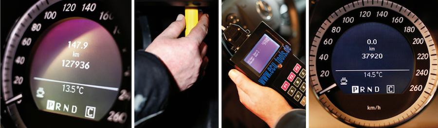 Bei digitalen Tachos haben Trickser leichtes Spiel. Mit Manipulationsgeräten für 200 Euro können sie den Kilometerstand mit wenigen Klicks zurücksetzen. Schätzungen des ADAC zufolge ist davon fast jeder dritte Gebrauchtwagen betroffen.