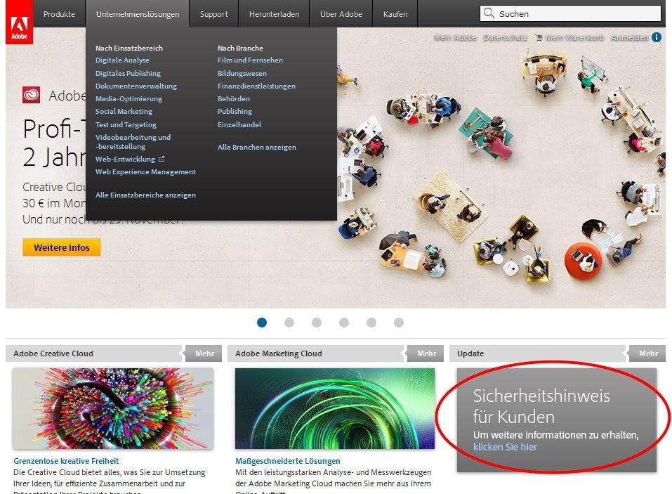 Adobe hält auch im deutschsprachigen Raum Sicherheitshinweise für die betroffenen Kunden bereit.