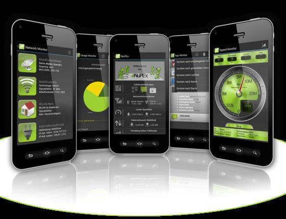 Mit der kostenlosen NuPEx-App kann ein Mobilfunkkunde viele Informationen seines Telefons einsehen, die sonst verborgen sind. Dazu gehört nicht nur die Geschwindigkeit des Zugangs zum Internet. Angezeigt werden auch Datenverbrauch der Apps an und wie viele Minuten im Monat telefoniert wurde.