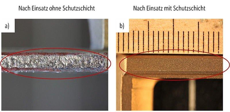 Die Titanklammer links mit herkömmlicher Abnutzung und rechts mit selbstheilender Kupferbeschichtung.