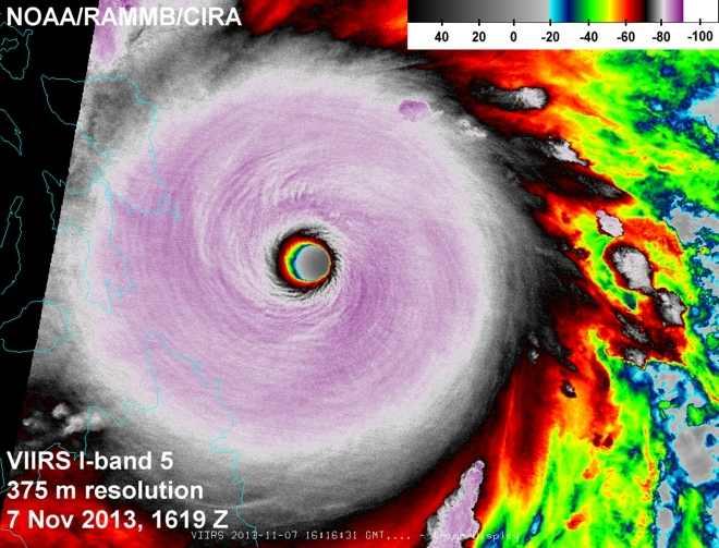 Hochauflösendes Satellitenbild von Haiyan am 7. November.
