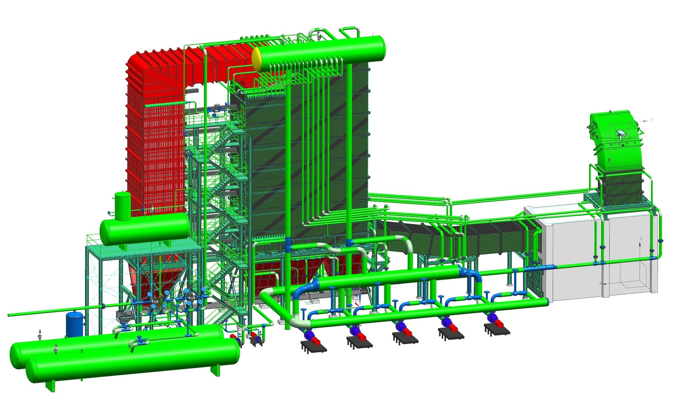 Skizze der Wärmerückgewinnungsanlage von Siemens: Die Wärmenergie aus heißen Abgasen von Elektrolichtbogenöfen wird zur Dampferzeugung genutzt.
