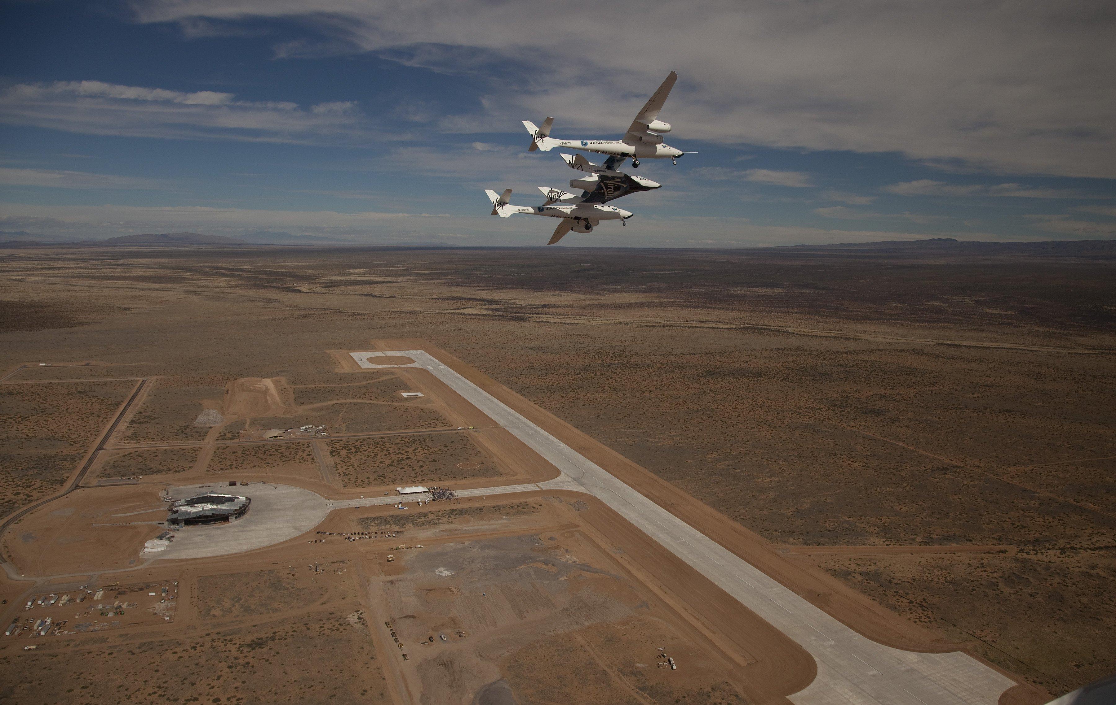 Flughafen des Raumfahrtunternehmens Virgin Galactic in New Mexico: Einen solchen Weltraumbahnhof, von dem Flugkörper starten können, plant die britische Raumfahrtindustrie in Schottland.