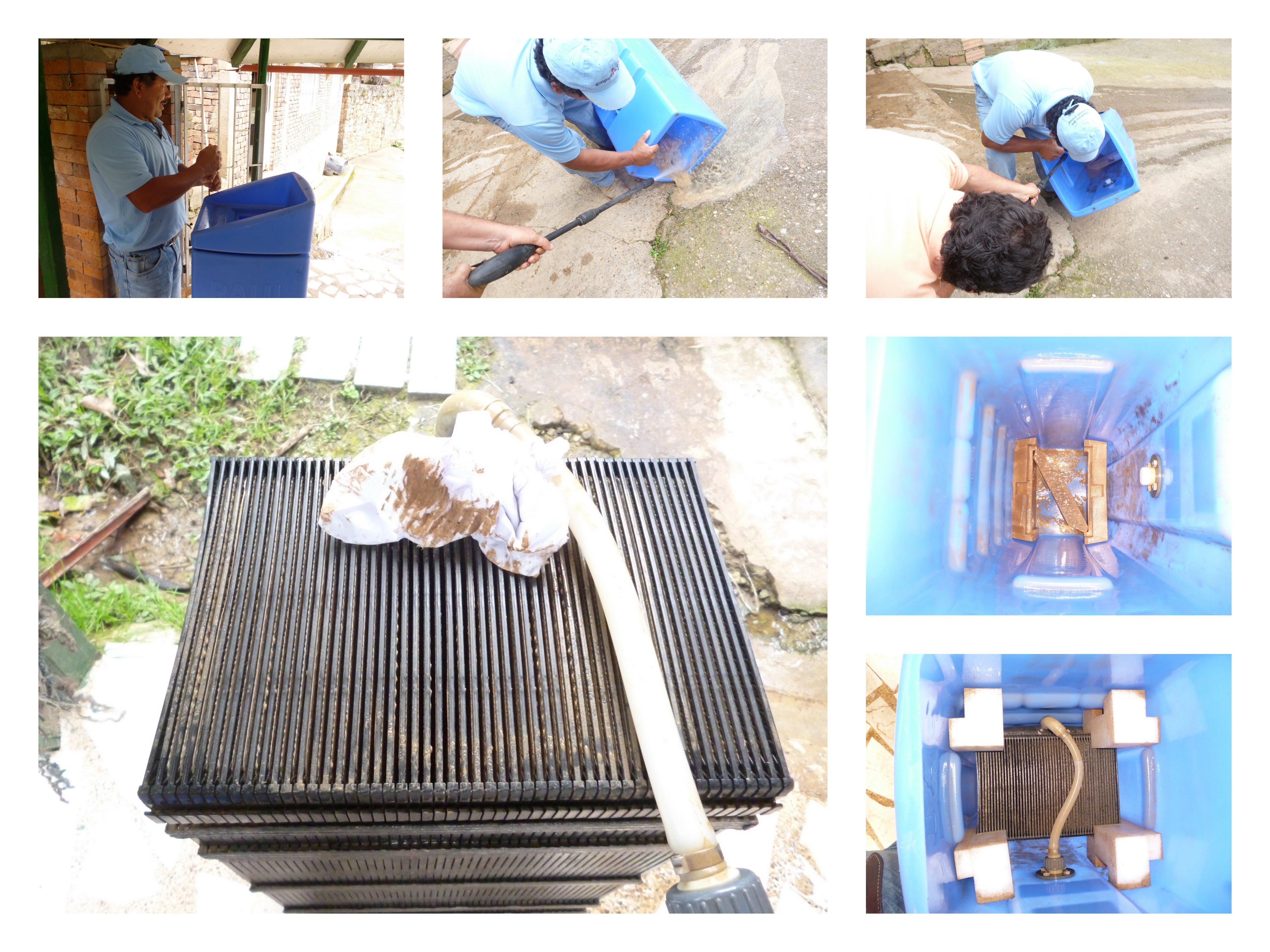 Der Wasserrucksack PAUL ist völlig einfach aufgebaut und zu reinigen (v.l. im Uhrzeigersinn): Nach Abnehmen des Deckels werden die groben Verschmutzungen einfach herausgespritzt. Anschließend wird der große Membranfilter herausgenommen und gereinigt.