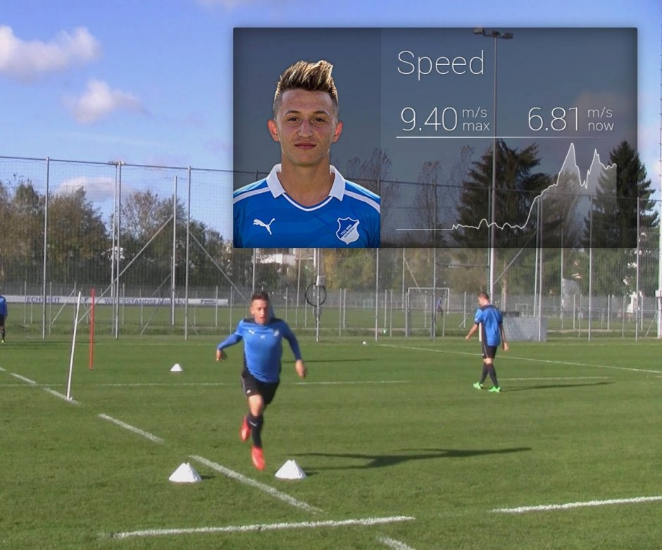 Beim Training der Hoffenheimer U19-Mannschaft werden alle Laufwege der Spieler erfasst und sofort ausgewertet.