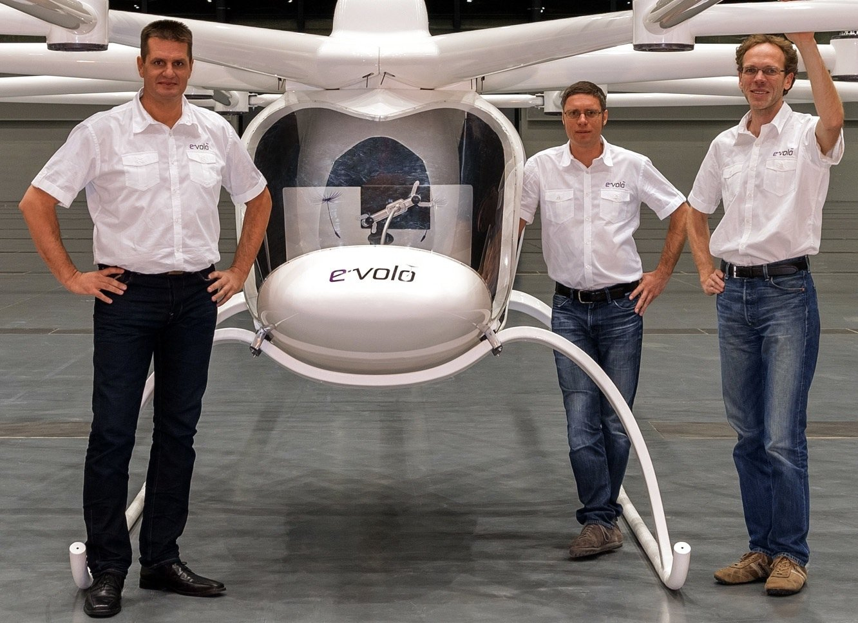 Die Erfinder des Volocopters: Alexander Zosel,Stephan Wolf undThomas Senkel (v.l.n.r.).