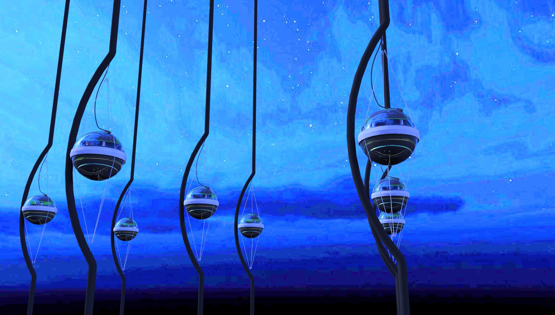Illustration der IceCube-Sensoren im ewigen Eis am Südpol in der Antaktis: An 86 Stahltrossen hängen 5160 dieser digitalen optischen Module (DOM) in insgesamt einem Kubikkilometer Eis.