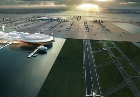 Wegen der Überlastung der fünf Londoner Flughäfen schlägt Architekt Sir Norman Forster den Bau eines Großflughafens auf einer künstlichen Insel in der Mündung der Themse vor.