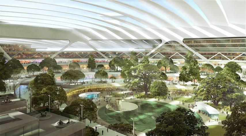 Detailansicht des Großflughafens Britannia, den Architekt Sir Norman Forster entworfen hat.