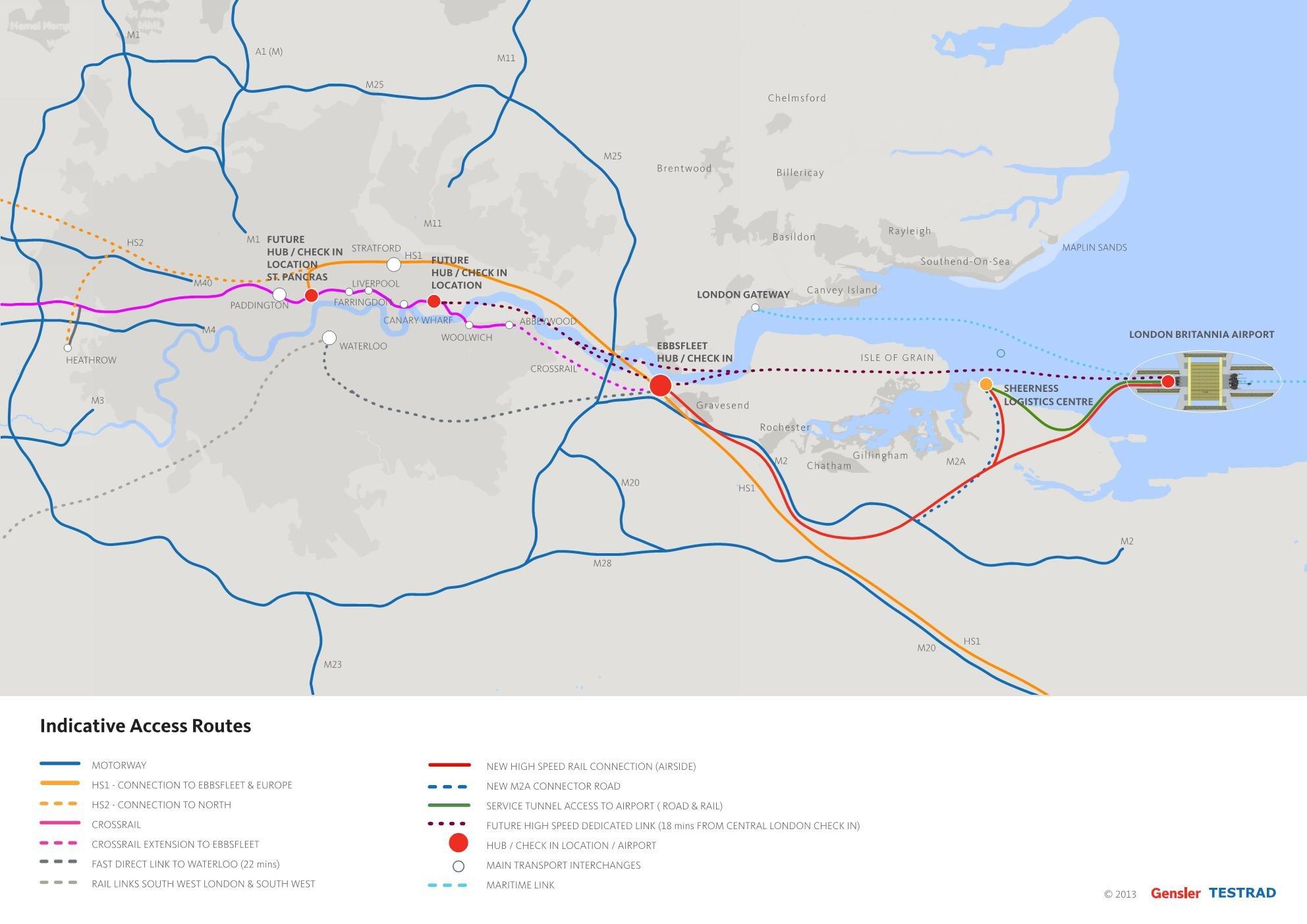 Der neue Großflughafen Britannia läge 80 Kilometer vom Zentrum entfernt. Drei neue Schnellbahnlinien und eine Schiffsverbindung könnten ihn mit der Stadt verbinden.