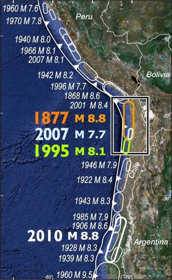 Erdbebenhistorie in Chile