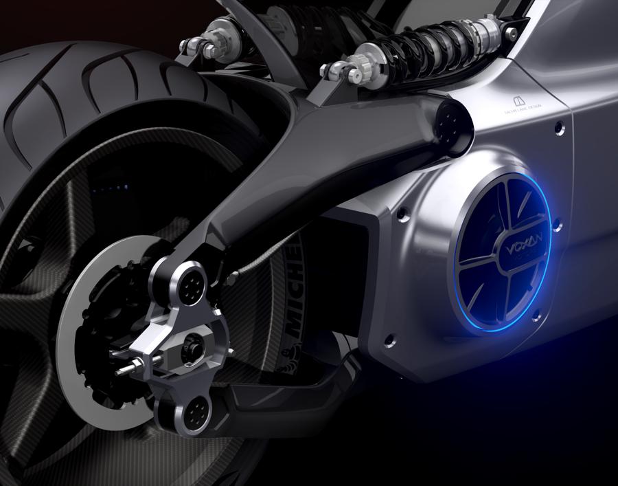 Detail der neuen Voxan Wattman: Das Motorrad mit Elektroantrieb beschleunigt in 3,4 Sekunden von Null auf 100 km/h.