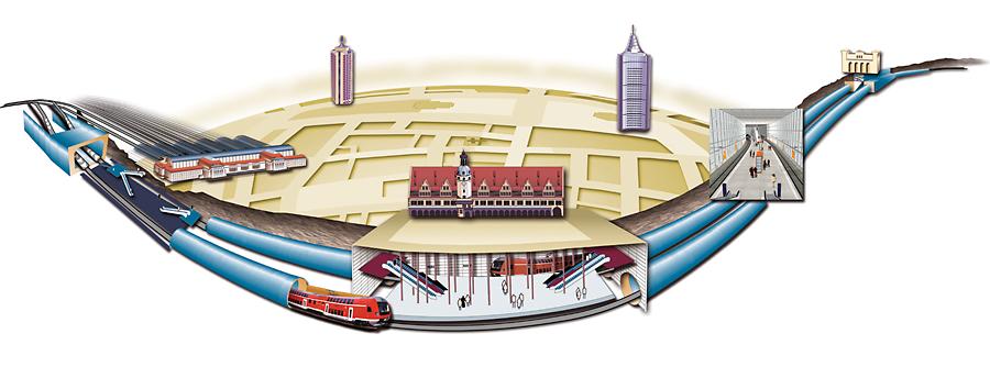 Mehrdimensionale Ansichtdes City-Tunnel-Verlaufes.