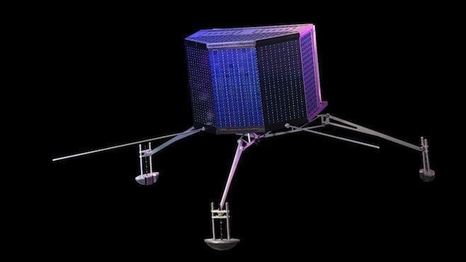Das Minilabor Philae soll auf dem Kometen landen. Dämpfer müssen die Landung abfedern. Falls diese versagen, zerschellt die sensible Messtechnik auf der Oberfläche.