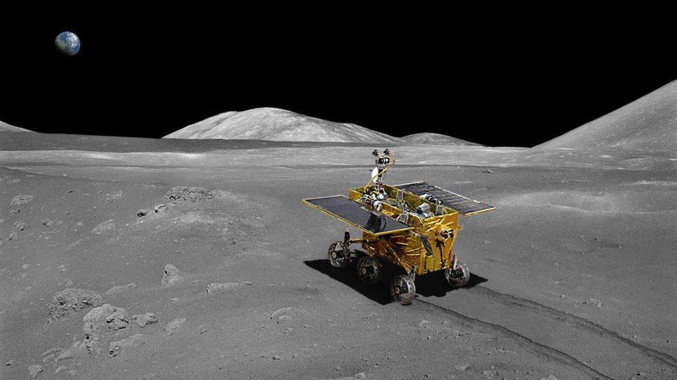 Animation der ersten Fahrt des chinesischen Mondfahrzeuges Yutu auf dem Erdtrabanten. Yutu hinterließ deutliche Spuren im Boden.