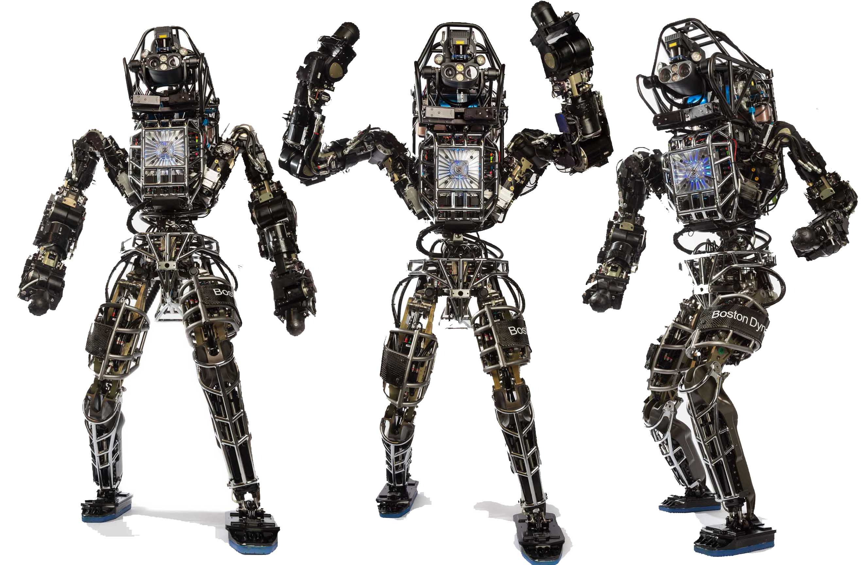Der humanoide Roboter Atlas von Boston Dynamics orientiert sich mit Sensoren, Kameras und Lasern in seiner Umgebung. Er kann Lasten heben, auf Leitern klettern und sogar Auto fahren.