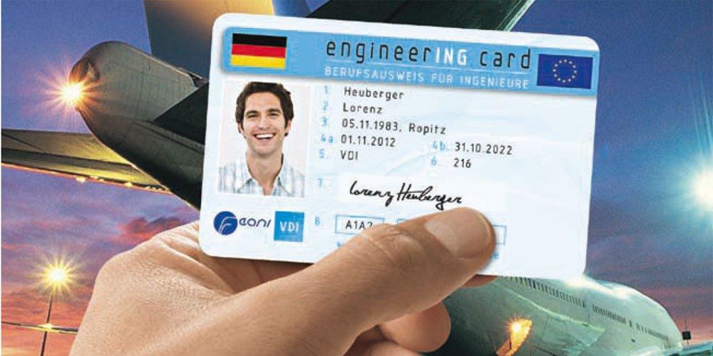 Die Engineering Card: Auf dem freiwilligen Berufsausweis für Ingenieure werden Abschlüsse, einschlägige Berufserfahrung und Weiterbildung sowie die eventuelle Verbandszugehörigkeit des Karteninhabers dokumentiert.