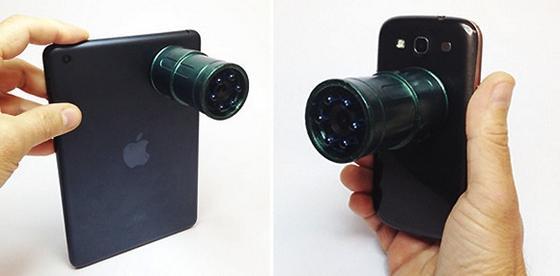 Der Aufsatz Snooperscope macht aus jedem Tablet oder Smartphone ein Nachtsichtgerät.