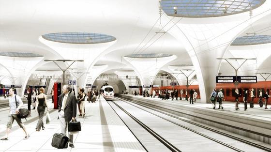Stuttgart 21: So soll der Tiefbahnhof mal in einer fernen Zukunft aussehen. Die Realität sieht allerdings anders aus. Möglicherweise wird das Milliardenprojekt mitten im Bau beerdigt.