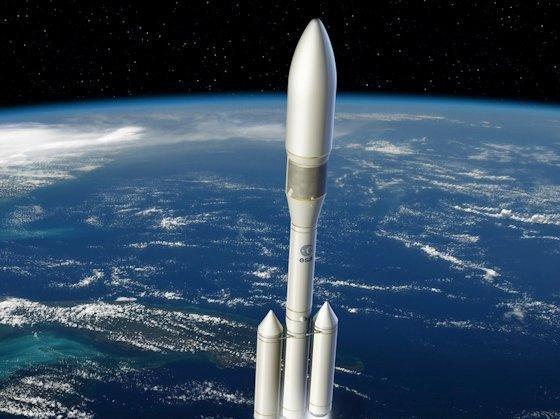 Die Ariane 6, wie sie aussehen könnte. Die Zahl der Booster ist je nach Nutzlast variabel. Die Nutzlasten sollen zwischen 3 t und 7 t liegen.